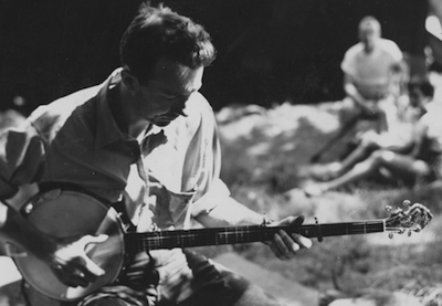 Photo of Pete Seeger at camp.